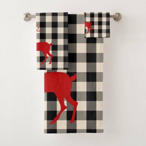 Christmas Buck Deer Black & White Buffalo Plaid