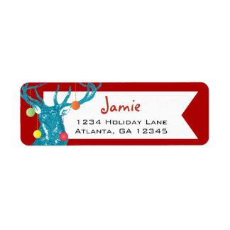 Christmas Buck Deer Return Address Label