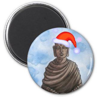 Christmas Buddha! 2 Inch Round Magnet