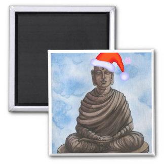 Christmas Buddha! 2 Inch Square Magnet