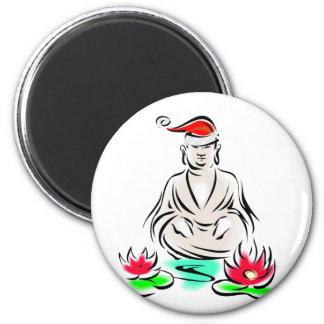 Christmas Buddha drawing 2 Inch Round Magnet