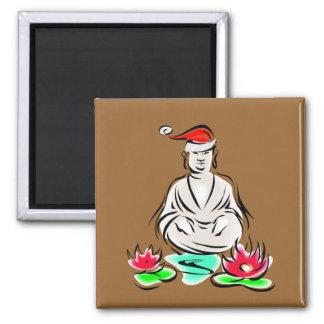 Christmas Buddha drawing 2 Inch Square Magnet