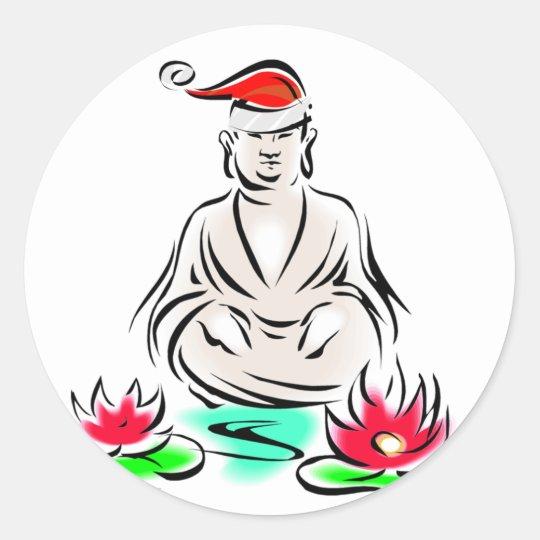 Christmas Buddha drawing Classic Round Sticker