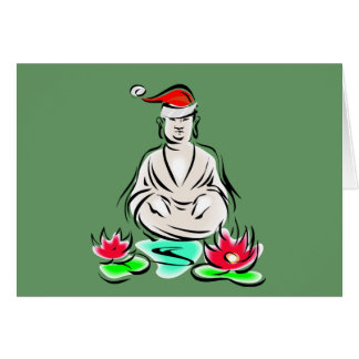 Christmas Buddha drawing Greeting Card