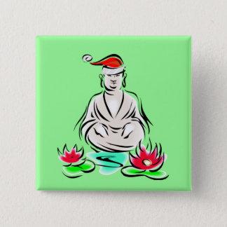 Christmas Buddha drawing Pinback Button
