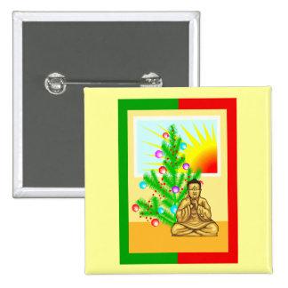 Christmas Buddha w/Tree! Pinback Button