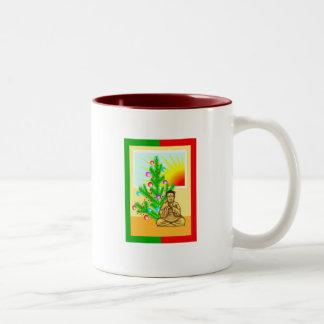 Christmas Buddha w/Tree! Two-Tone Coffee Mug