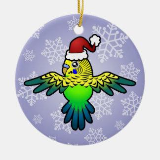 Christmas Budgie Ceramic Ornament