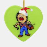 Christmas Builder Double-Sided Heart Ceramic Christmas Ornament
