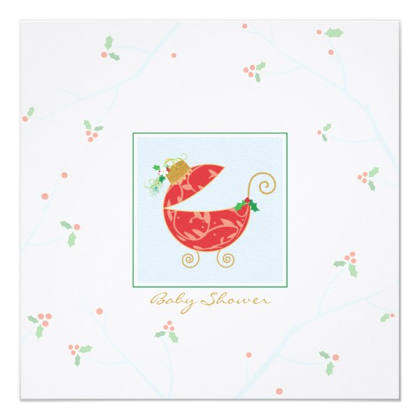 Christmas Bulb Baby Carriage Shower Invitation