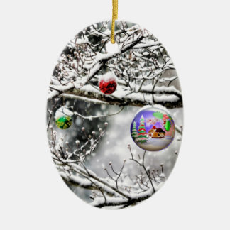 Christmas Bulb Hanging from Tree Ceramic Ornament