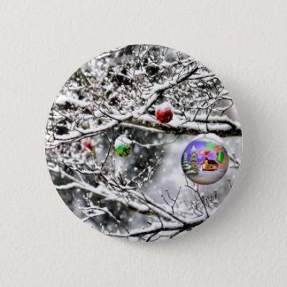 Christmas Bulb Hanging from Tree Pinback Button