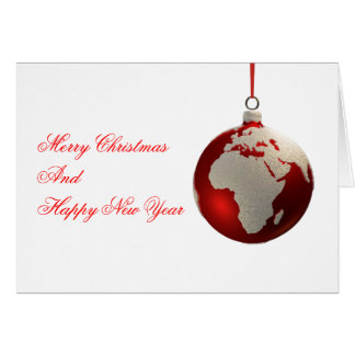 Christmas Bulb With Continents, Europe and Africa Card