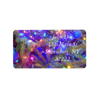 Christmas Bulbs in Blue Personalized Address Labels