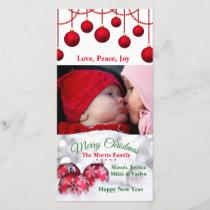 Christmas Bulbs, Snow & Family Photo. Photo Card