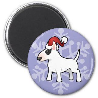 Christmas Bull Terrier 2 Inch Round Magnet