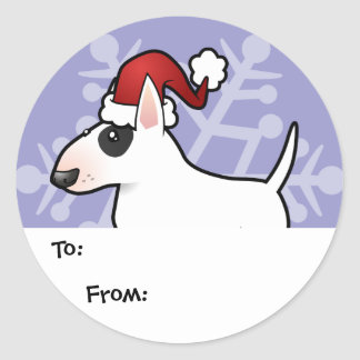Christmas Bull Terrier Gift Tags Classic Round Sticker