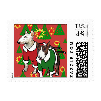 Christmas bull terrier postage stamps