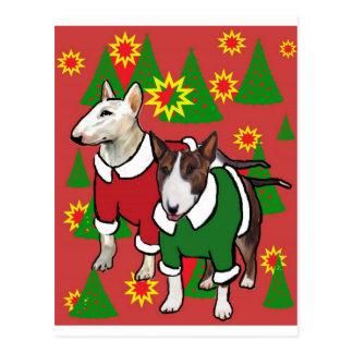 Christmas bull terrier postcard
