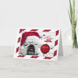 Christmas Bulldog in a Santa Hat Cards