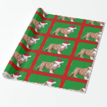Christmas Bulldog puppy gift wrapping paper