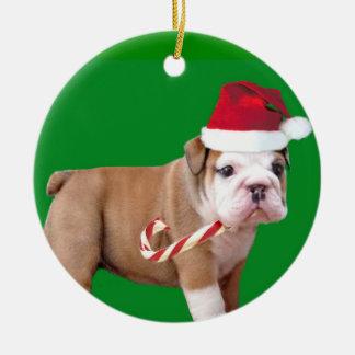 Christmas bulldog puppy ornament