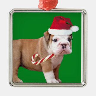Christmas Bulldog puppy ornamnet Square Metal Christmas Ornament