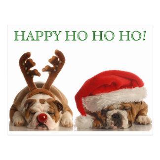 Christmas Bulldogs Postcard 2