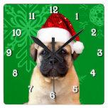 Christmas bullmastiff dog square clock