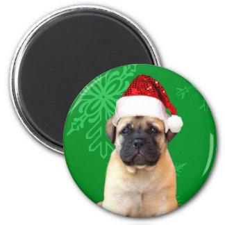 Christmas Bullmastiff puppy 2 Inch Round Magnet