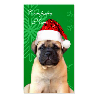 Christmas bullmastiff puppy business card
