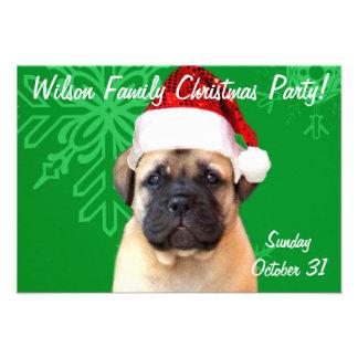 Christmas Bullmastiff puppy Custom Invitation