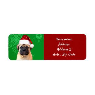 Christmas bullmastiff puppy label