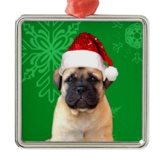 Christmas bullmastiff puppy ornament
