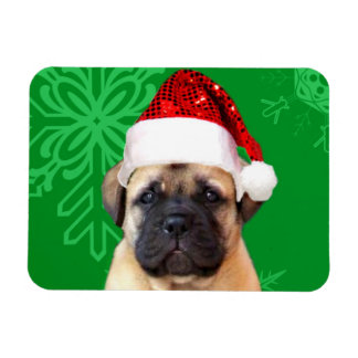 Christmas bullmastiff puppy rectangular photo magnet