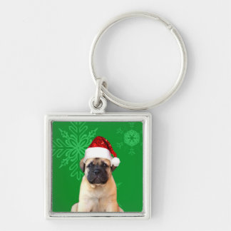 Christmas Bullmastiff puppy Silver-Colored Square Keychain