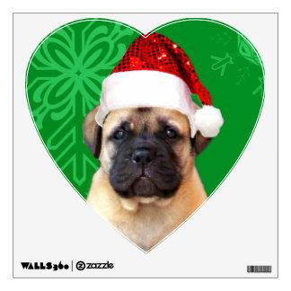 Christmas bullmastiff puppy wall decal