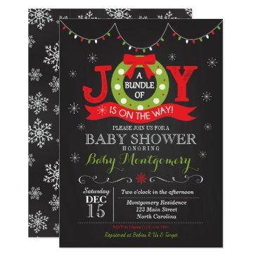 Christmas Themed Christmas Bundle of Joy Baby Shower Invitation