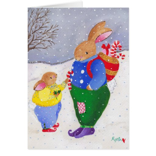 Christmas bunnies stationery note card