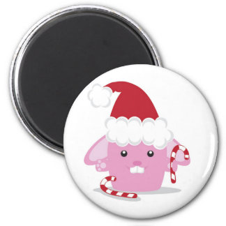 Christmas bunny 2 inch round magnet