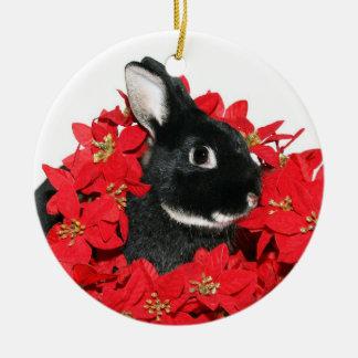 Christmas bunny ceramic ornament