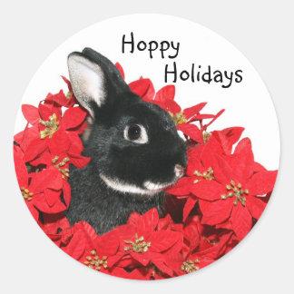 Christmas bunny classic round sticker