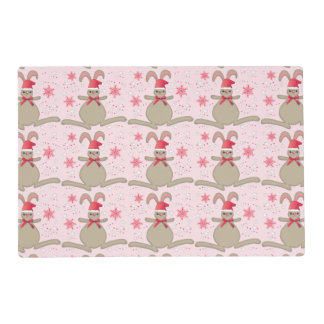 Christmas Bunny Rabbit Santa Hat Pink Xmas Placemat