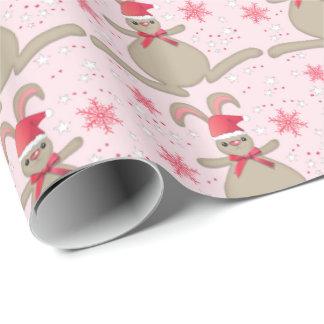 Christmas Bunny Rabbit Santa Hat Pink Xmas Wrapping Paper