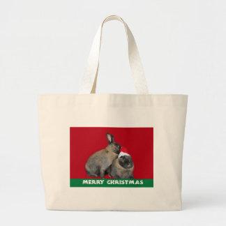 Christmas Bunny Rabbits Santa Hat Red Bag