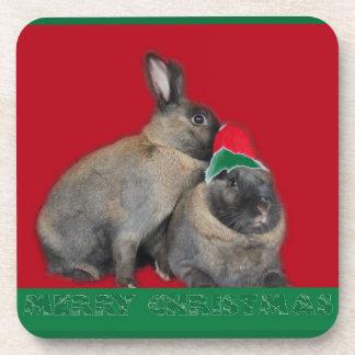 Christmas Bunny Rabbits Santa Hat Red Coaster