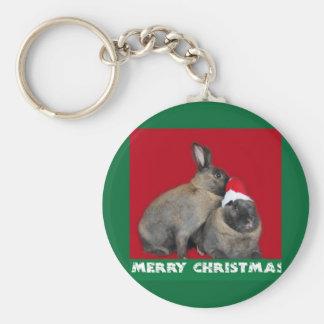 Christmas Bunny Rabbits Santa Hat Red Keychain