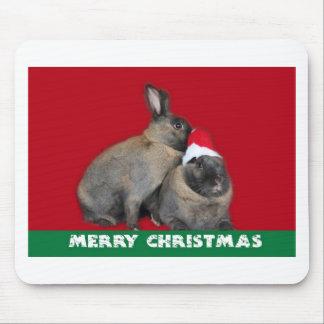 Christmas Bunny Rabbits Santa Hat Red Mousepad
