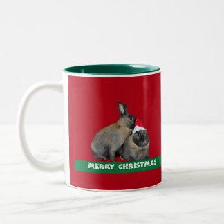 Christmas Bunny Rabbits Santa Hat Red Mug