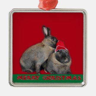 Christmas Bunny Rabbits Santa Hat Red Christmas Ornament
